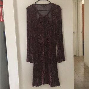 Soft & Sexy Paisley Long Sleeve Maroon Fall Dress